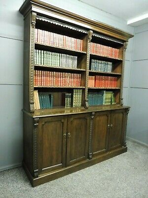 Antique 19Th Century Oak Library Bookcase