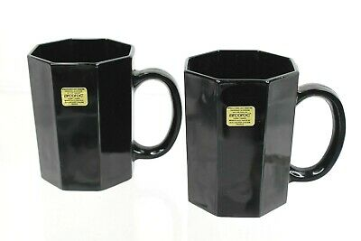 2 Arcoroc OCTIME France Black 10 oz Coffee Tea Mugs Octagonal Glass Replacements