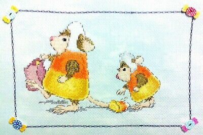 """Going Trick or Treating - 11.5"""" x 8"""" Finished, Completed, Cross Stitch Piece"""