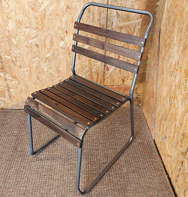Retro Cafe Chair Metal & Wood Slat Seat Stacking Bar Industrial School Vintage