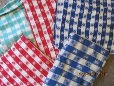 Lot of 5 Vintage tavola red blue check tablecloths vs sizes condition