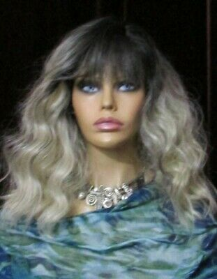 Silver Fox  Wig Long Beach Wave Bangs Perfect For Your Monster Bash Party