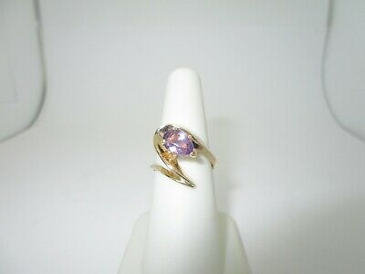 14k Solid Gold 1.60 Ct Natural Amethyst Abstract Deco Ring  | Size 7  R205