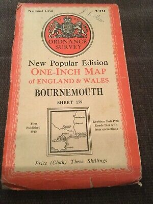 National Grid 1940 Ordnance Survey One-Inch Cloth Map Of Bournemouth Sheet 179