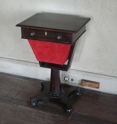 Small Antique William Iv Or Early Victorian Mahogany Ladies Work Or Sewing Table