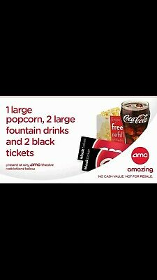 2 AMC Black Tickets, 2 Large Drinks, and 1 Large Popcorn send per email
