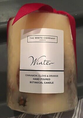 THE WHITE COMPANY Winter Hand Poured Botanical Pillar Candle Medium RRP £26
