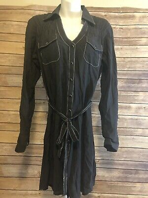 Rock 47 by Wrangler Shirt Dress Womens Gray Size Small Studded Pearl Snap Top
