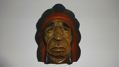 Native American Indian Chief Solid Wooden Hand Carved Wall Hanging ~ Vintage!