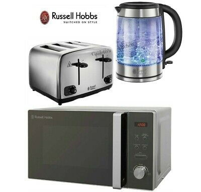 Russell Hobbs Kettle and Toaster with Microwave - Glass Kettle & 4-Slot Toaster