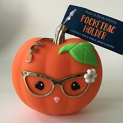 Bath & Body Works Miss Pumpkin Lady w/ Glasses Large Desk Pocketbac Holder NEW