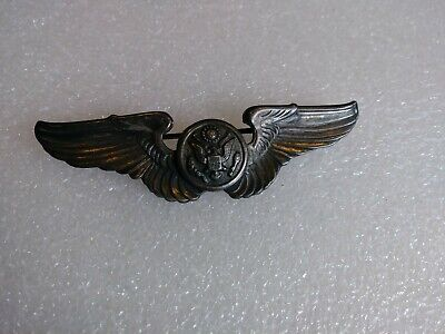 Vintage WWII Sterling Silver US Air Force Pilot Wings Military Pin 925