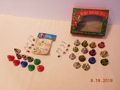 Vintage Melodee Christmas Metal Bells Christmas Package Ties Bells Mica Covered