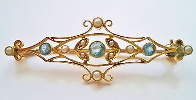 Fine Antique Victorian 15ct Gold Aquamarine & Pearl Brooch c1890 in Tooled Case
