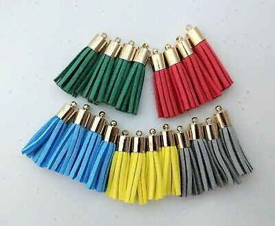 20pc Gold Capped 33mm Faux Suede Leather Tassels - Bracelet Charm Earring Supply
