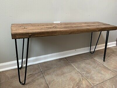 Marvelous Handmade Indoor Rustic Wooden Bench W Hairpin Legs Mid Evergreenethics Interior Chair Design Evergreenethicsorg