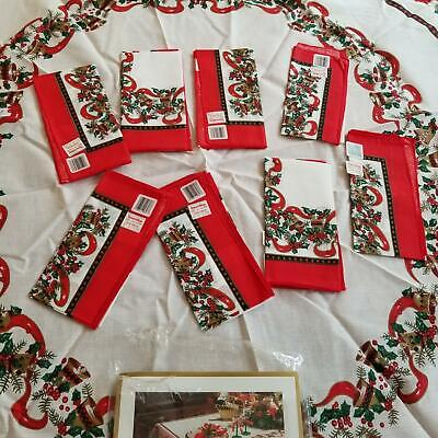 "Avon Home Fashion Musical White Red Christmas 70"" Round Tablecloth 8 Napkins New"