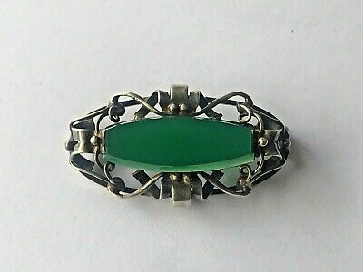 RARE imper. RUSSIAN 84 Silver Brooch with JADE stone Faberge design 19 century