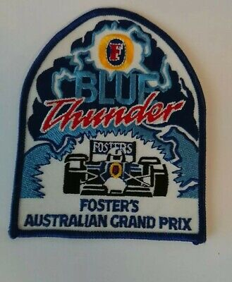 RETRO 1980s FOSTERS LAGER BEER CLOTHING PATCH BLUE THUNDER AUSTRALIAN GRAND PRIX