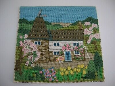 Vintage Needlepoint / Tapestry Picture of Oast house