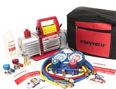 Kozyvacu AUTO AC Repair Complete Tool Kit with 1-Stage 3.5 CFM Vacuum Pump Ma...