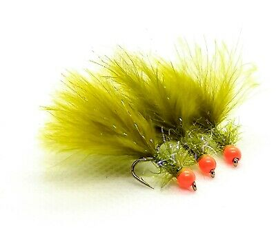 3 x Light Olive Marabou Damsel UV Fritz Trout Fly Lures Fl Yellow Hot Head
