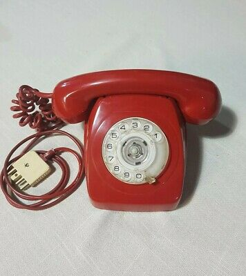 Vintage AWA Rotary Dial Red Telephone