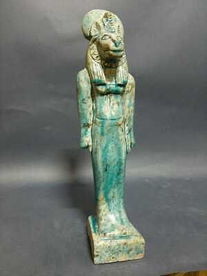 Rare Antique Ancient Egyptian Statue Goddess SEKHMET Blue Glazed Stone 300 BC