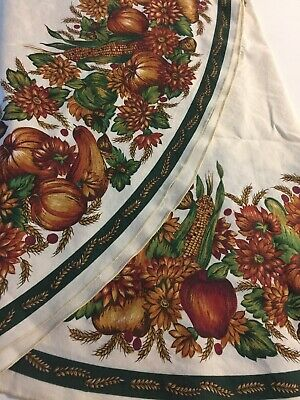 "Fall Design Round Cotton Blend Tablecloth 68"" Leaves Corn Pumpkins Mums"