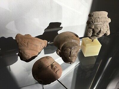 "2.5"" Primitive Carved Ceramic/Stone/Clay Head Figures PRE-COLUMBIAN (vintage)"