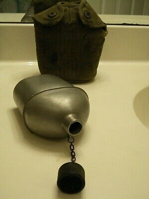 Genuine WWII US Military Army USMC Canteen & Cover 1943 Vollrath M1910 WW2