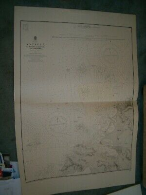 Vintage Admiralty Chart 2065 ANTIGUA - ST JOHN'S HARBOUR & APPROACH 1862 edition