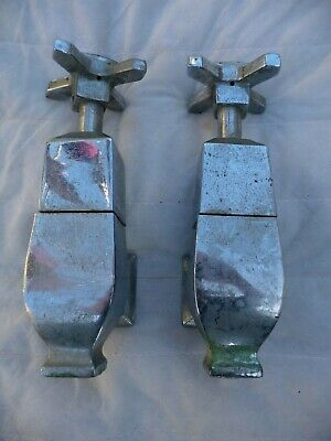 Antique Pair Large Art Deco Chromed Brass Bath Tap Hot+Cold Face Mounted Project