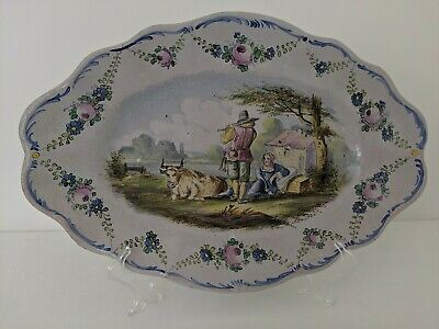 Large 19th Century French Lille Faience Dish Courting Scene Antique Signed