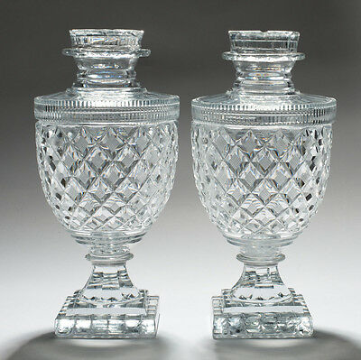 A Pair of Antique 19th Century Victorian Cut Glass Covered Sweetmeat Jars