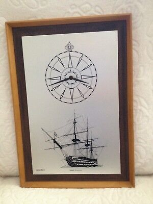 HMS Victory acctim wood framed wall clock ship compass Lord Nelson hessian mount