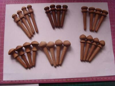 6 Sets of 4 replacement mahogany fusee  drop dial clock case pegs (see photo)