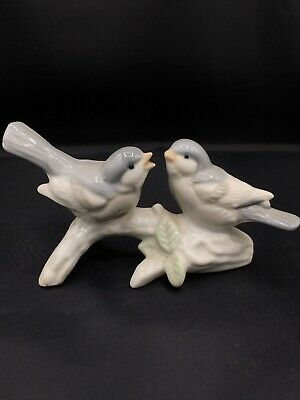 Otagiri Porcelain Birds on a Branch Figurine Handcrafted in Japan Blue Gray Gift