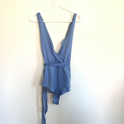 Vintage 1960's 70's ILGWU Union Made Teddy lingerie Belted Periwinkle Sz S