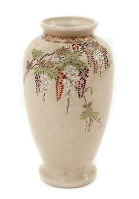 Antique Signed Japanese Hand Painted Wisteria Satsuma Ware Pottery Vase