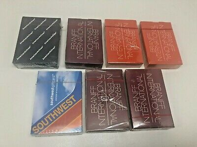 Lot of 7 New Sealed Vintage Braniff American Southwest Airlines Playing Cards