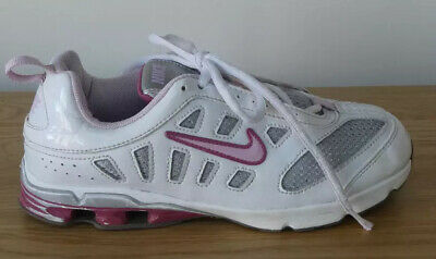 NIKE IMPAX girl's white, silver & pink trainers Kids UK 2.5