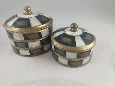 Elephant Mother of Pearl Inlay and Brass Jewelry Trinket Chest Boxes