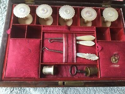 Antique Mother Of Pearl Inlaid  Rosewood Sewing Box  Mother of Pearl bobbins