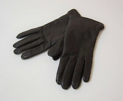 Vintage dark brown real leather gloves wool lined  XS with stitch detail retro