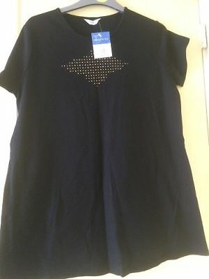 Brand New Maternity Tesco Black Summer Holiday T Shirt Top Size 10