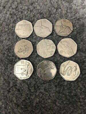 Olympic 50p Coin Joblot X9 Football Offside Rule Included