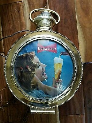 VINTAGE Working BUDWEISER Rotating Large Pocket Watch Lighted Sign Lady w/ Beer