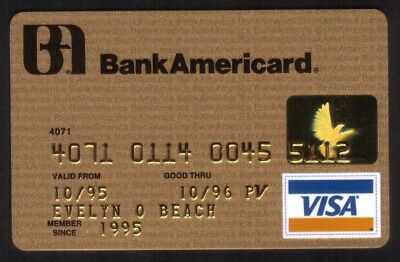 BankAmericard VISA Gold Credit Card Exp 10/96