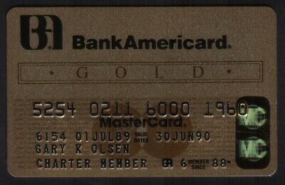 BankAmericard Gold MasterCard Credit Card Exp 30JUN90